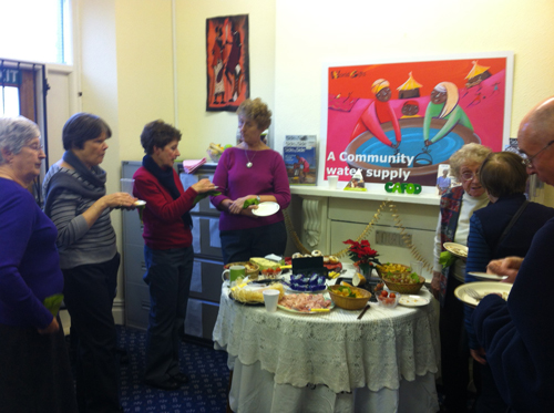 Volunteers gather in the Cardiff office to celebrate Christmas