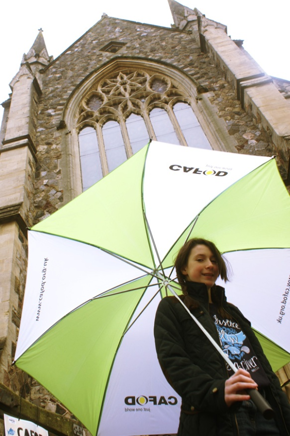 Supporter outside the Cornerstone at St David's, Cardiff