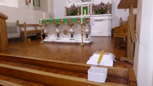 Lampedusa Cross on the altar at St Mary's