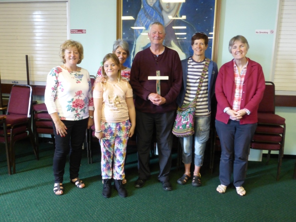 Bernadette, Sue (Mumbles) Paul &  Stella (Pontyberem) and Sandra (Neath) with a Lampedusa Cross at the Swansea briefing (Mary from St David's is missing from the photo)