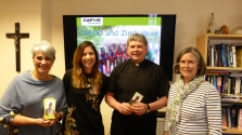 OLSS Soup lunch with Sue Philippart, Gemma Salter, Fr Mansel Usher and Sarah O'Kane